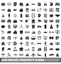 100 private property icons set simple style vector image vector image
