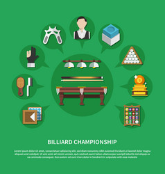 billiard championship flat composition vector image