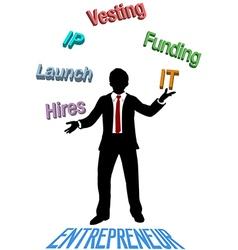 Entrepreneur juggles lean startup plan vector image