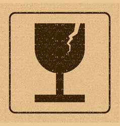 Fragile symbol for cargo with grunge design vector
