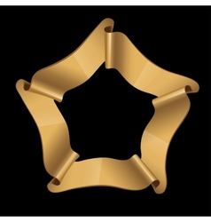 Gold glossy ribbons on a black background vector image