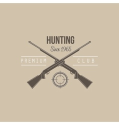 Hunting Vintage Emblem with Guns and Dog vector image vector image