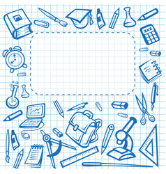 School stationery poster copybook vector