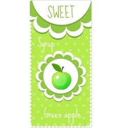 Sweet fruit labels for drinks syrup jam Green vector image