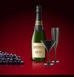 Two glasses of champagne with bottle and grapes vector