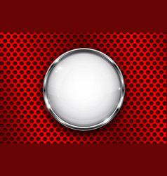 white button frame on red perforated background vector image vector image