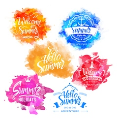Collection of Summer and Holidays Labels vector image