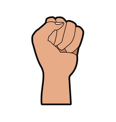 fist hand gesture cartoon on white background vector image vector image