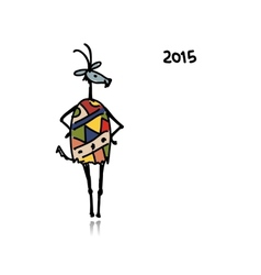 Funny goat sketch Symbol of 2015 new year vector image