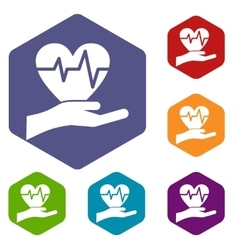 Hand holding heart with ecg line icons set vector image