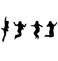 jumping silhouettes vector image vector image