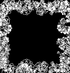 orchids stencil frame vector image vector image