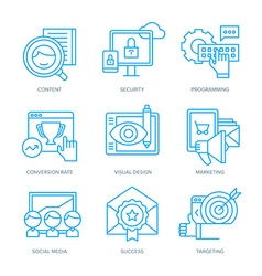 Seo and digital marketing icons vector