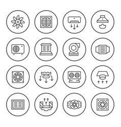 set round line icons of ventilation vector image