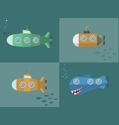 set submarine cartoon style flat design vector image