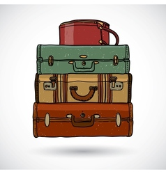 Suitcases in doodle style vector image vector image