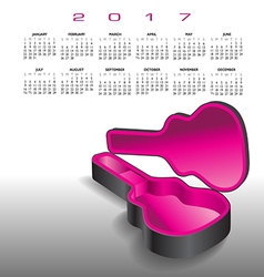 A 2017 calendar with an empty guitar case vector