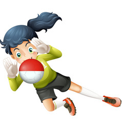 A girl using the ball with the Chile Flag vector