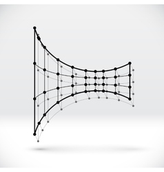 Abstract 3D wireframe shape with connected vector