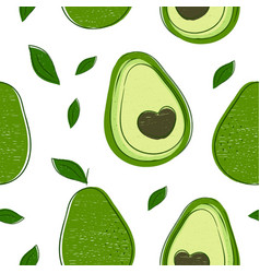Avocado hand drawing style pattern vector