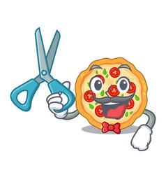 Barber margherita pizza in a cartoon oven vector