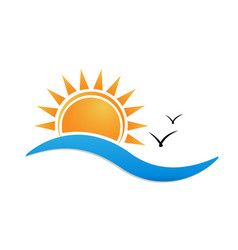 beach sunny environment logo vector image