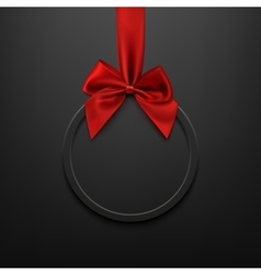 Blank black round banner with red ribbon and bow vector