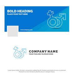 blue business logo template for gender venus mars vector image