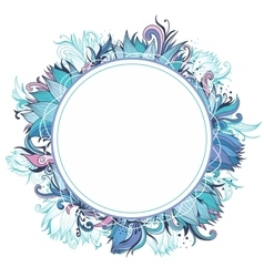 Blue Winter Floral Frame with Lotus vector