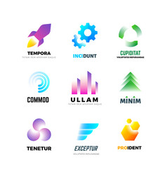 business company logo set abstract modern vector image