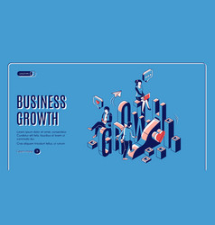 business growth startup boost isometric landing vector image