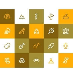 Camping and outdor icons Flat style vector