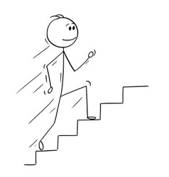 Cartoon of man or businessman running up stairs vector