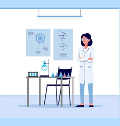 cartoon scientist woman in white lab coat standing vector image