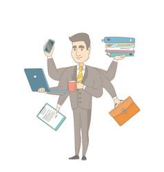 Caucasian businessman coping with multitasking vector