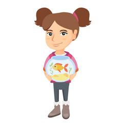 caucasian girl holding aquarium with goldfish vector image