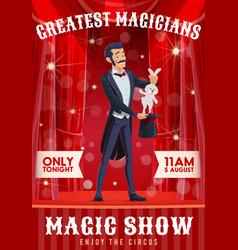 Circus magician show cartoon poster vector