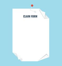 Claim form blank vector