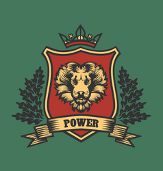 Coat of arms with lion head vector