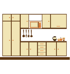 Color silhouette with modern kitchen cabinets vector