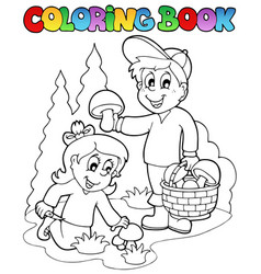 Coloring book with kids mushrooming vector
