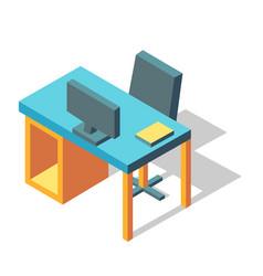 Computer desk isometric vector