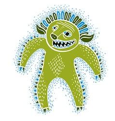 cool cartoon monster simple weird creature green vector image