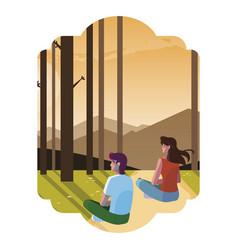 Couple contemplating horizon in forest scene vector