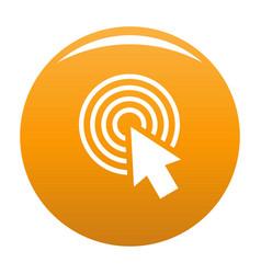 cursor click round icon orange vector image