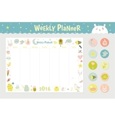 Cute Calendar Weekly Planner vector