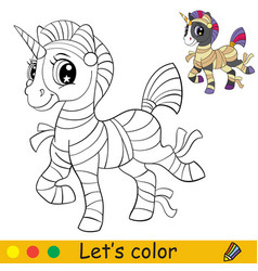 Cute unicorn in mummy suit coloring book halloween vector