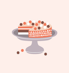 Delicious pie decorated with icing on cake stand vector