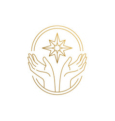 design hands with star in frame hand vector image