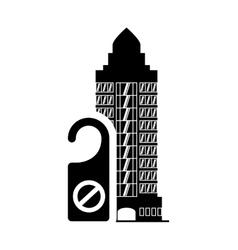 Door label hotel building silhouette design vector